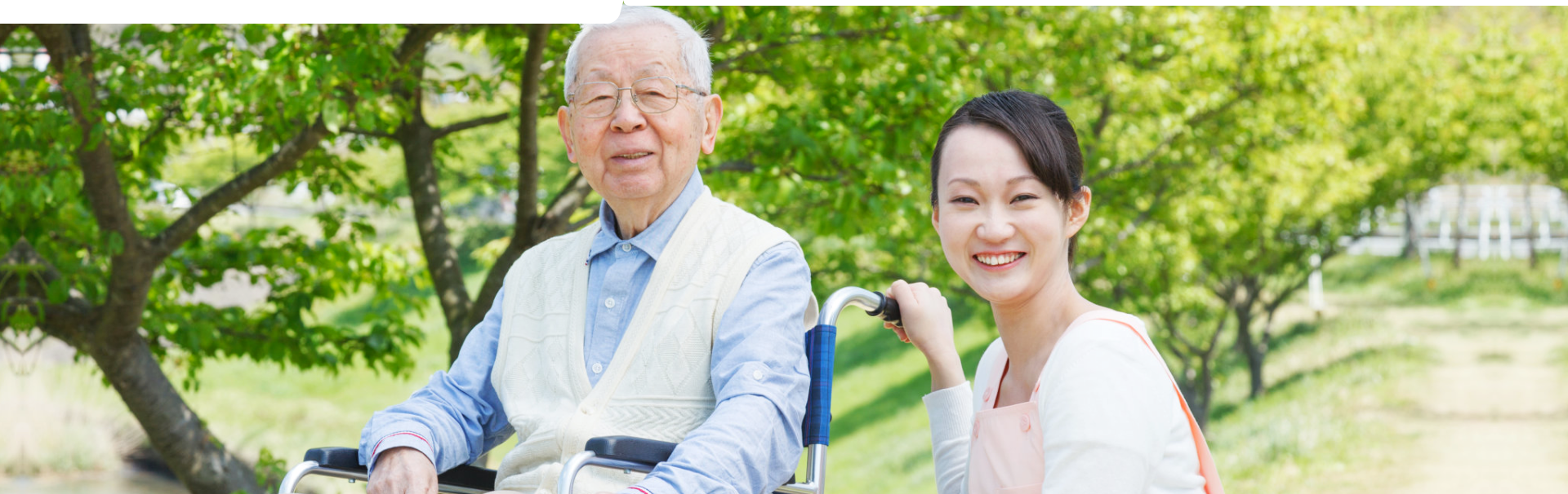Asian caregiver accompanying an elderly